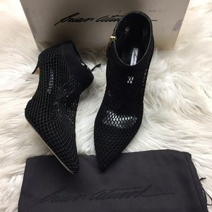 Brian Atwood Mesh Heeled Booties 39M